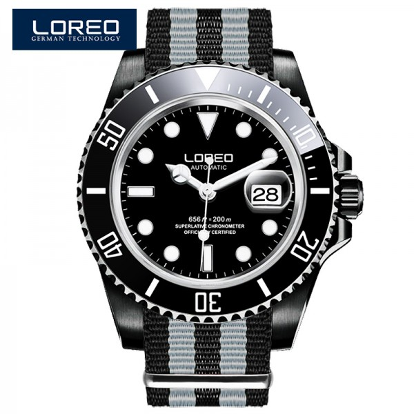 Loreo Shark Series Automatic Mechanical 50 Meters Waterproof Back Side Hollow Leather Strap Luminous Men S Watch