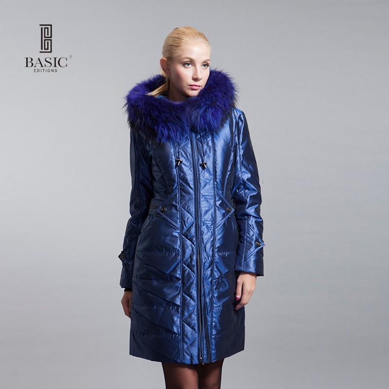 BASIC-EDITIONS Winter Long Fur Collar Down Coat White Duck Feather Women's Down Jacket - ZY10071