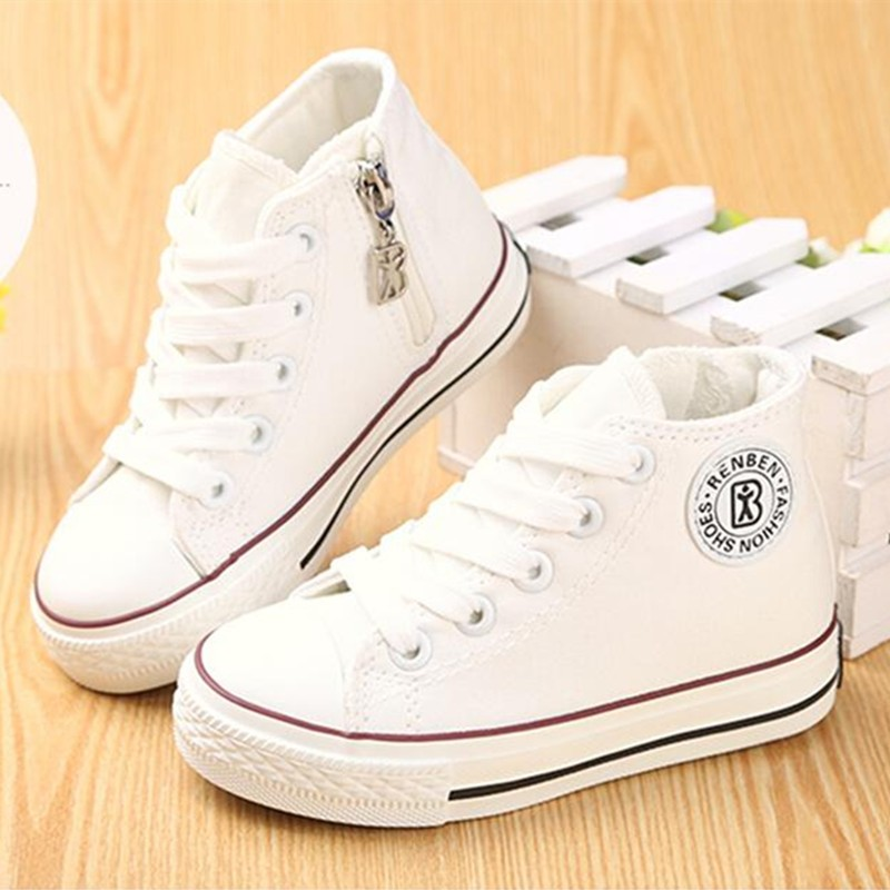 Children canvas shoes kids shoes for girl white boys sneakers 2017 spring autumn