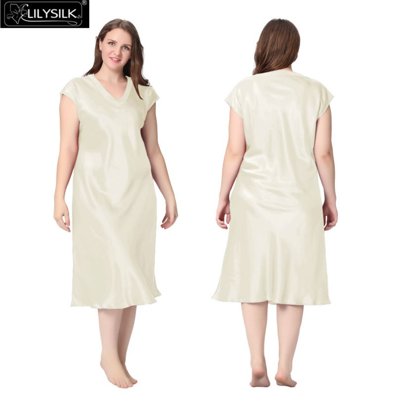 Lilysilk Silk Nightgown Women Long Sleeping Dress Plus Size Short Sleeve Solid 22 Momme V Neck Night Luxury Pure Bride Wedding