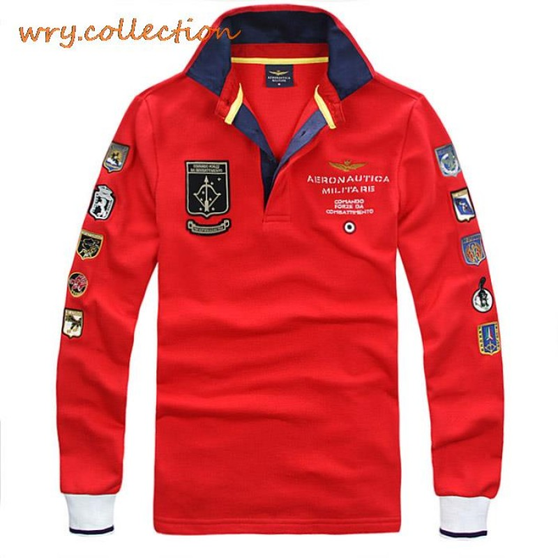 AERONAUTICA MILITARE polo man polo shirts, Italy shirt with long sleeve ,air force embroidery casual polo Free Shipping