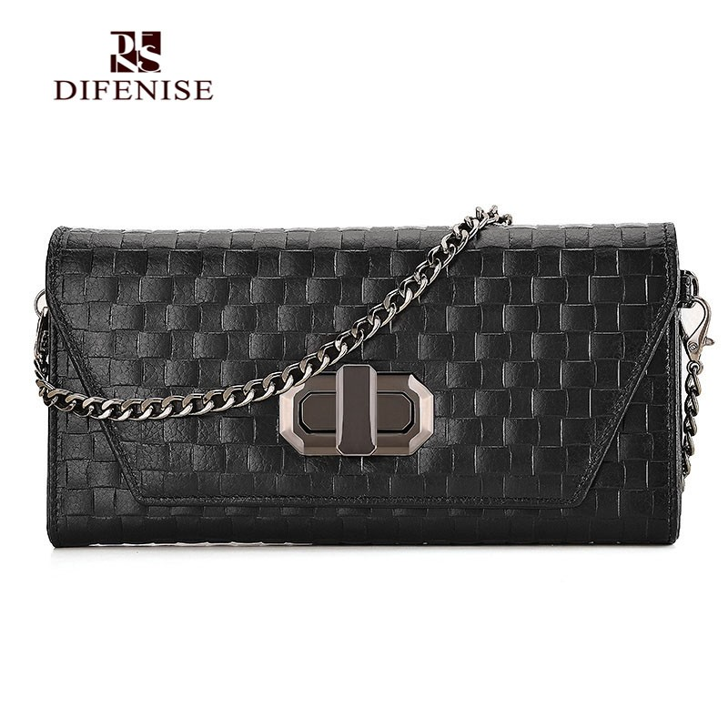 Difenise Knitting Handmade women's Long Wallets The first layer cowhide genuine leather High quality Casual Clutch with Gift Box