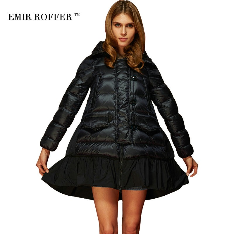 EMIR ROFFER Fashion Loose A Line Skirt Hooded Cloaks Coat  Female Winter Women's Down Jacket Parka Plus Size Camperas Outwear