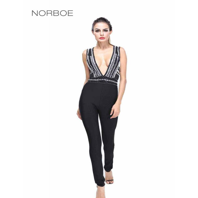 2017 Latest Trendy Women Jumpsuit fashionable Beading Studded Deep V neck Sleeveless Luxurious Bandage Jumpsuit