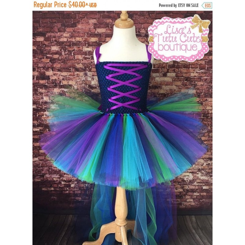 Gorgeous Girls Peacock Tutu Dress Trailing Girl Party Dresses Fluffy Baby Kids Pageant Birthday Performance Photograph Dresses