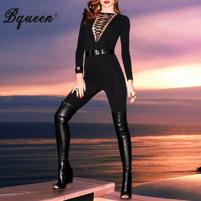 Bqueen 2017 New Solid Black Zipper Lace-up Long Sleeve Trendy Bandage Pants  Jumpsuit Slim Hollow Out