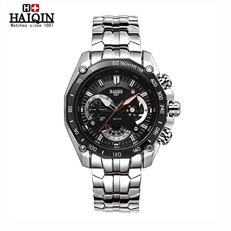 HAIQIN 2016 new mens watches top brand luxury multifunction sport waterproof metal wristwatch  clock men high-end quartz watch