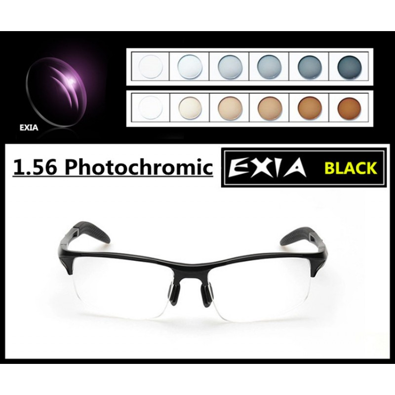 Photochromic Sunglasses Men Optical Myopia Prescription PGX and PBX 1.56/1.61/1.67 Optical Lenses EXIA OPTICAL KD-24 Series
