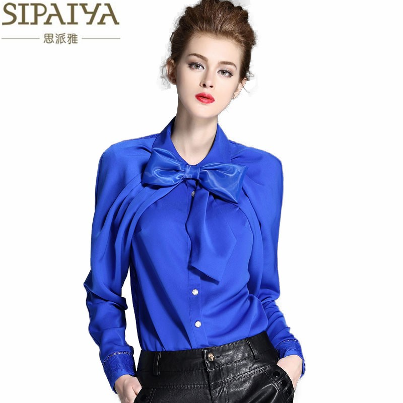 SIPAIYA Luxury Silk Blouse Womens Bow Collar Silk Blouses Shirt Blusas Femininas Office Ladies Elegant Work wear Blouse