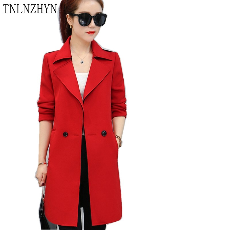 TNLNZHYN 2017 New Trench Coat Women Fashion Turn Down Collar Female Coat Spring Overcoats Midium Long Windbreaker Plus Size AL60