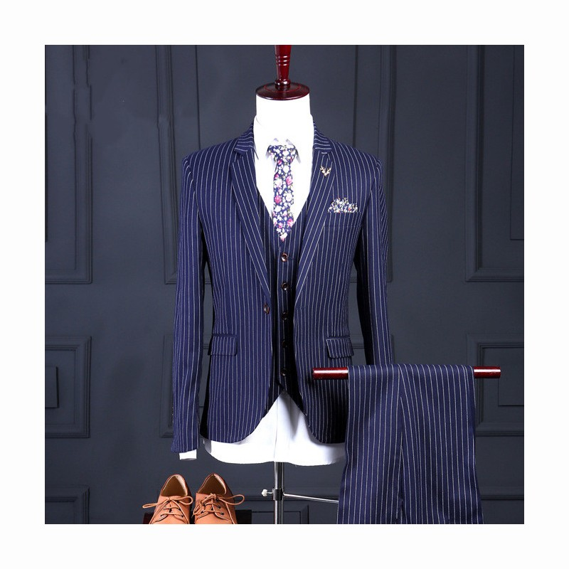 ccf7bbda7b (jacket+pants+vest) New fashion male singer men suit spring autumn stripe  casual slim fit prom groom party wedding suit