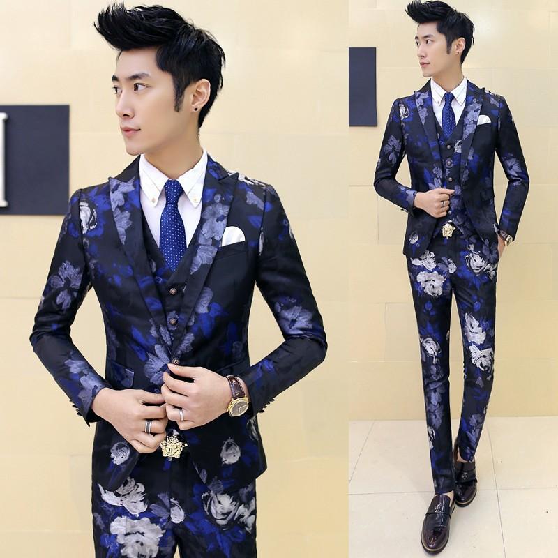 (jacket+pants+vest)Fashion male singer han edition men suit spring casual suit fit groom party wedding prom dress floral suit