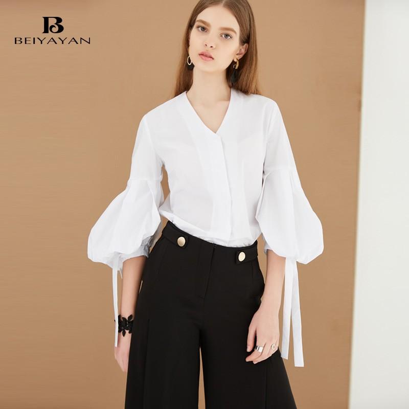 BEIYAYAN Women Tops and Blouses V-neck New Fashion 2017 Women Shirt Ladies Lantern Sleeve Women Blouse