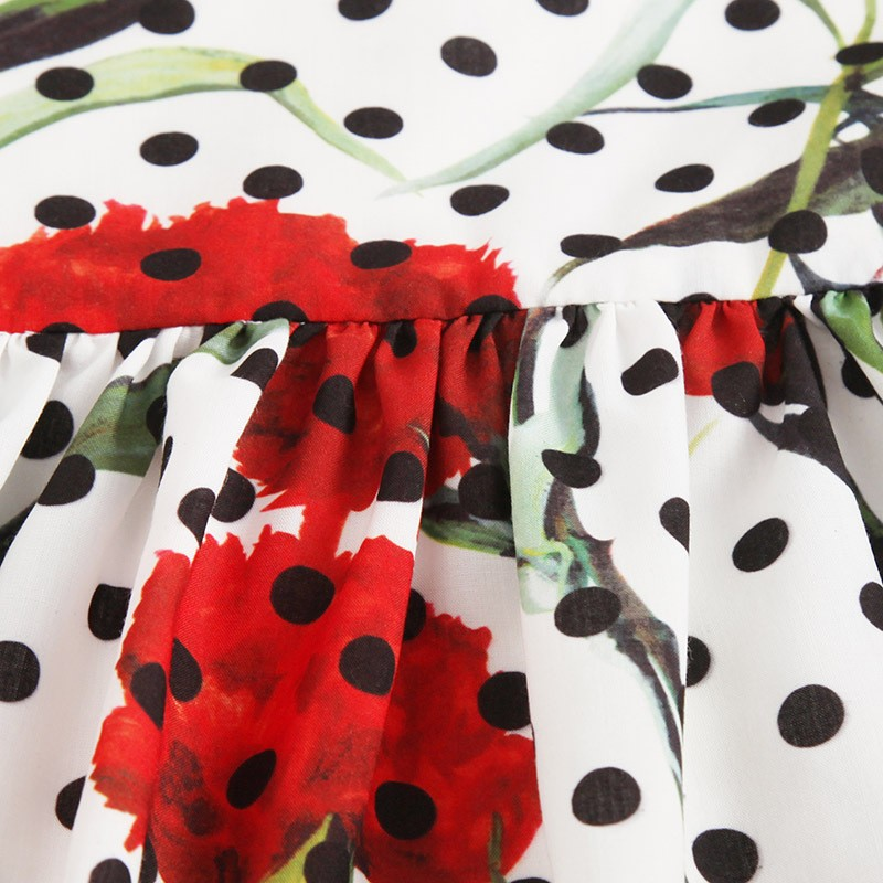 HSSCZL 2017 new girls dresses summer dots floral princess  high-end big swing female baby sleeveless print a-line 4-14 age