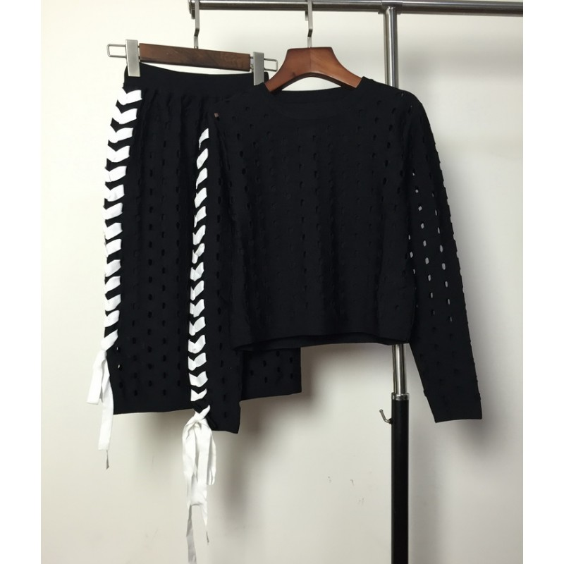 Tracksuits Direct Selling Cotton Polyester Full O-neck Europe Spring 2017 Fashion New Side Lacing + Skirt Suit Sweater Women