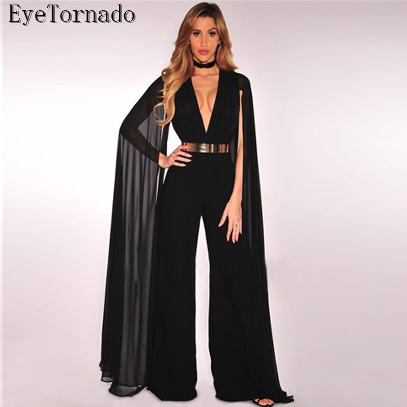 Women Spring Summer Fashion Black Deep V neck Long Butterfly Sleeve Trendy Party Work Club Skinny Bodycon Bandage Jumpsuit 9103