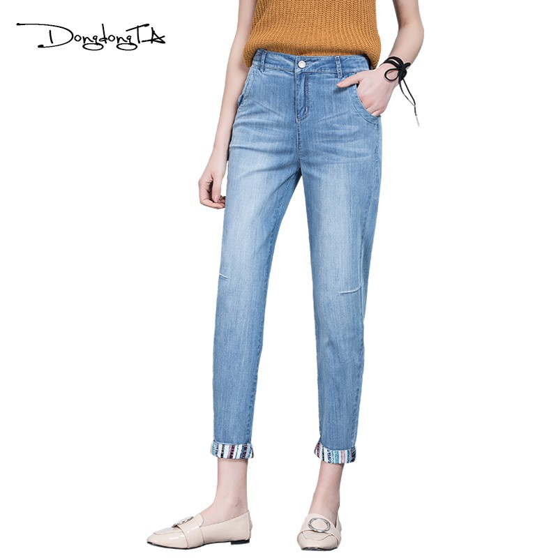 Dongdongta 2017 Jeans Woman Ankle-Length Pants Mid Waist Women's Jeans Loose Type Pencil Pants Original Design Fashion Jeans New