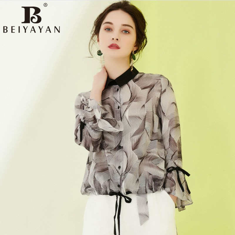 BEIYAYAN Ladies Office Shirts Turn-down Collar Long Flare Sleeve Women Printed Blouses