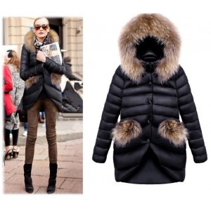 New Long Slim Duck Down Coat Womens Winter Parka Coats Warm Jacket Thick Padded Fox Fur Collar Slim Down Coat Women Sashes