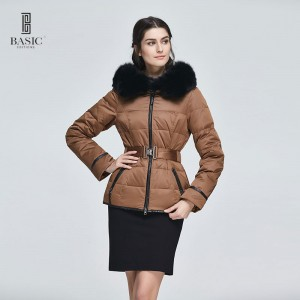 Basic Editions Women Winter Short Slim Fit Belt Coat with Fur Brown Fashion White Duck Down Jacket - 13W-65
