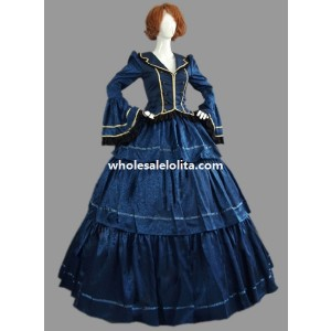 Historical Royal Blue Brocade & Cotton Civil War Victorian Ball Gown Period Dress Stage Costume