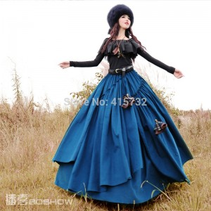 Free Shipping 2017 Boshow Autumn And Winter Long Maxi Elastic Waist layered Skirt With Big Hem For Women Corduroy Bohemian Skirt