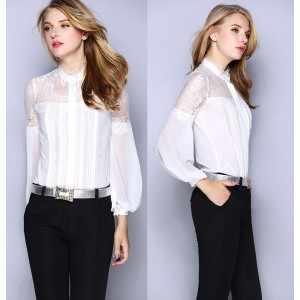 New Brand Blouses Women Shirt Sheer Lace Patchwork Long Sleeve Vintage Shirt Black White Color Office Work Shirt Silk Blouses OL