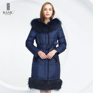 BASIC-EDITIONS WINTER WARM DOWN JACKET WITH RACCOON FUR HOOD AND BELT COAT - 12W-15