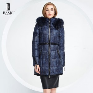 BASIC-EDITIONS Women Winter Hooded Raccoon Fur Collar White Duck Down Long Down Jacket - 14W-11
