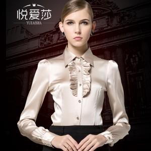 high quality silk shirt female long-sleeve top solid silk shirt laciness 2017 spring and autumn women fashion blouses shirt silk