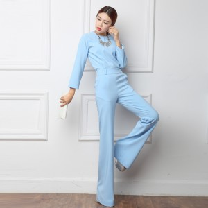 Free shipping 2016 spring jumpsuit wide leg pants boot cut pants slim female bodysuit Women jumpsuits bell-bottoms