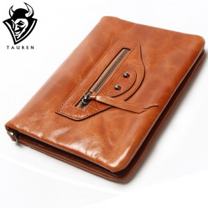 Multifunctional Oil Wax Leather Motorcycle Wallet For Women Clutch Trifold Retro Leather Long Belt Leather Wallet Best Gift Bag