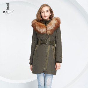BASIC EDITIONS Winter Womens Parka Casual Outwear Military Hooded Coat Winter Jacket Women Fox Fur Collar Coats WY1389