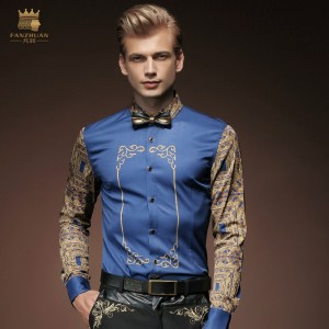 FanZhuan Free Shipping New fashion casual personality male long sleeved spring men's pattern printing Blue shirt 15228 On Sale