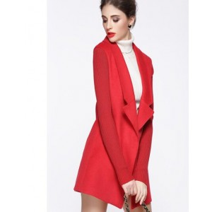 Trench Coat for Woman 2016 Fashion Turn-down Collar Slim Cashmere Solid Color Winter/Autumn/Spring Woman Overcoat