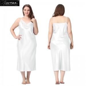 Lilysilk Sleepwear Silk Pure Wedding Nighties Women's Long Nightgown Silk Plus Size Side Split 22 MM Trendy Lingerie Lace Dress