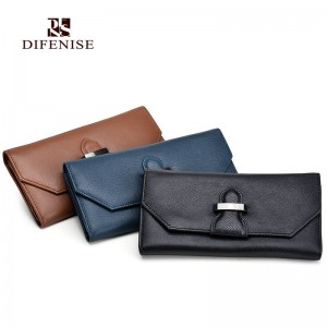 Difenise Design sheepskin Genuine leather Women's wallet female long Clutch wallets section of the buckle ladies Purse High hot