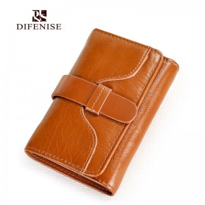 Difenise 2016 new Women's Key chain wallets oil wax genuine leather Key purse women Wallet Real leather wallets with Gift Box