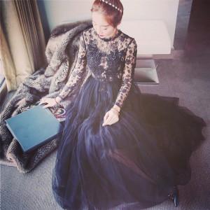 Women Fashion Party Design Lace Ball Gown Dress Long Sleeve Embroidery Prom Trendy Dress Saias Femininas Formal Faldas Cortas DYD6