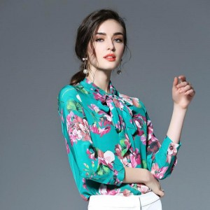Brand High Quality Vintage Famous Floral Peach Blossom Print Real Silk Chiffon Long Sleeve Bow Blouse Shirt Fashion Women D776