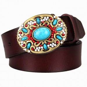 Fashion women's Genuine leather belt mosaic gem turquoise belts metal buckle arabesque pattern retro woman decorative belt gift