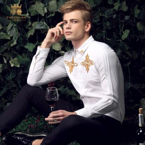 FanZhuan Free shipping New fashion casual male long-sleeve Men's spring collar youth slim white shirt embroidered shirts 15208