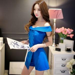Original 2016 Brand Short Combinaison Femme Summer Plus Size Buttons Fashion Elegant Solid Color Blue Playsuits Women Wholesale