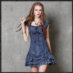 Fashion 2017 New Summer Vintage Embroidery Denim Dress Women Casual Short Sleeve Mini Jeans Ruffles Dresses Vestidos A8150
