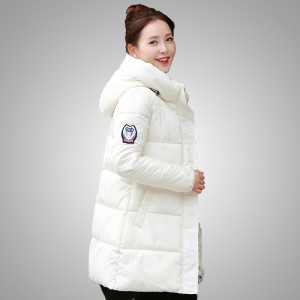 Fashion Women Hooded Coat Slim Fit Thick Warm Jacket with Badge Long Sleeve Stand Collared Outfits Outerwears for Cold Winter