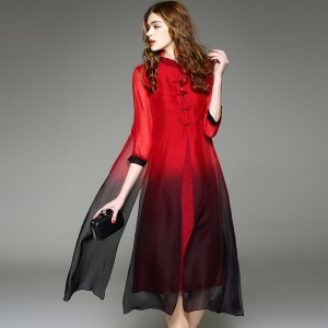 2017 Vintage Long Dress Women Boho Plus size women clothing pure silk  dress Classic  party s T-shirt dress retro JS-LTHD-0002