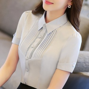 Plus Size S-5XL New Summer White Shirt Female 2017 Short Sleeve Slim Tooling Blouse Solid Color Work Shirt Free shipping