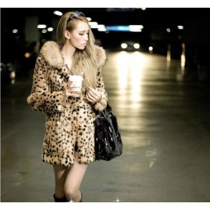 Hot-selling New winter Korean faux fur coat,Thick warm leopard  trench coats Trendy luxury female overcoat, Plus size S~3XL