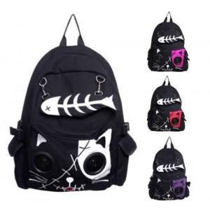 Speaker Bag by Banned KIT Cat Animal Rucksack Backpack Emo Gothic Plug & Play Fish Bone