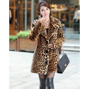Hot-selling New winter Korean faux fur coat,Thick warm leopard mink trench coats Trendy luxury female overcoat, Plus size XS~2XL